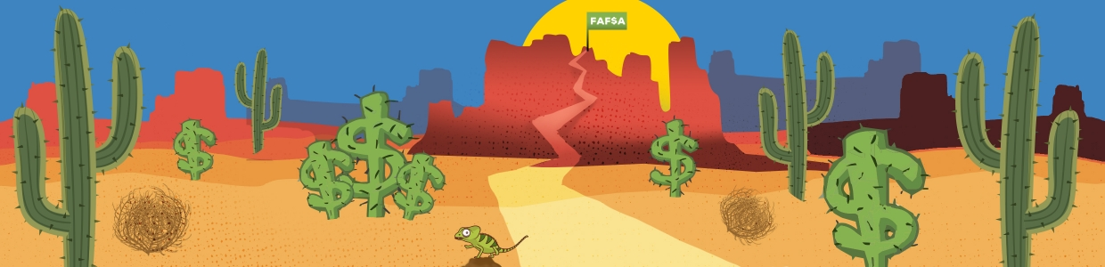 Fafsa Home banner of desert with sunset in the back